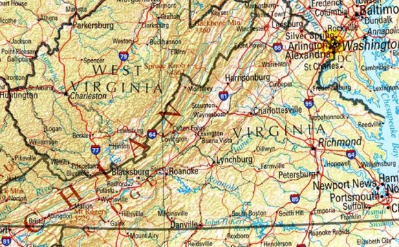 Reference map of Virginia
