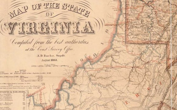 August 1863 map of Virginia