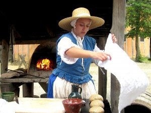 Baking in Jamestown Settlement's fort