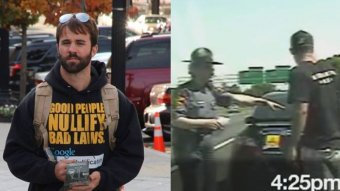 Nathan Cox, left, is being sued for .35 million by Virginia State Trooper Melanie McKenney, right, after he published movie of a heated encounter with the officer on the Internet and accused this lady of molesting him.