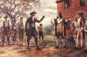 Sidney King artwork of the Governor confronting Bacon and his followers demanding Bacon take him